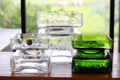 画像1: ビンテージ北欧ガラス/Riihimaen Lasi/Palaシリーズ/花瓶/グリーン/Mサイズ