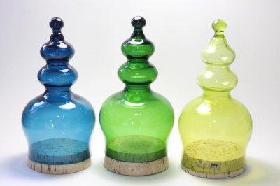 画像2: 北欧ガラス/ BODA/ボッダ/Bertil Vallien/バーティル・ヴァリーン/キャンディポット/グリーン