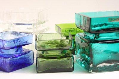 画像2: 北欧雑貨 Riihimaen Lasi Palaシリーズ 花瓶 ブルーグリーン Lサイズ