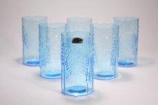画像3: 北欧ビンテージガラス/オイバトイッカ/フローラ/ヌータヤルヴィ/グラス/タンブラー/オリジナルボックス付き/6個セット/未使用品/ブルー/高さ10cm (3)