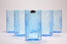 画像2: 北欧ビンテージガラス/オイバトイッカ/フローラ/ヌータヤルヴィ/グラス/タンブラー/オリジナルボックス付き/6個セット/未使用品/ブルー/高さ10cm (2)