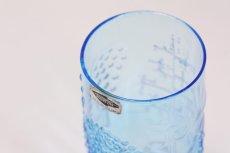 画像7: 北欧ビンテージガラス/オイバトイッカ/フローラ/ヌータヤルヴィ/グラス/タンブラー/オリジナルボックス付き/6個セット/未使用品/ブルー/高さ10cm (7)