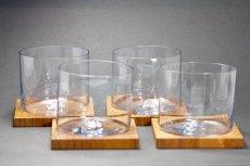 画像8: 北欧デンマーク/チークコースター付き吹きグラス/ロックグラス (8)