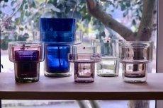 画像8: 北欧ビンテージガラス/Lisa Johansson Pape/リサヨハンソンパッペ/Viola/ビオラ/トリプルベース/クリア&ブルー&ピンク (8)