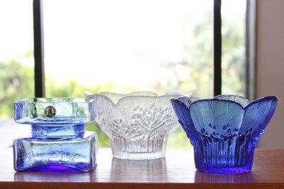 画像1: ビンテージ北欧ガラス/フィンランド/Lasisepat/クロッカス/レアカラーブルー/花瓶/キャンドルホルダー