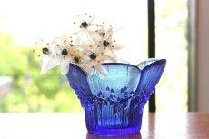 画像1: ビンテージ北欧ガラス/フィンランド/Lasisepat/クロッカス/レアカラーブルー/花瓶/キャンドルホルダー (1)