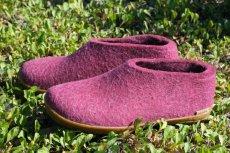 画像1: 北欧デザイン/フエルト×ラバーソール/靴/極厚ウール100%フエルト/glerups/グリオップス/クランベリー×ハニーラバー (1)