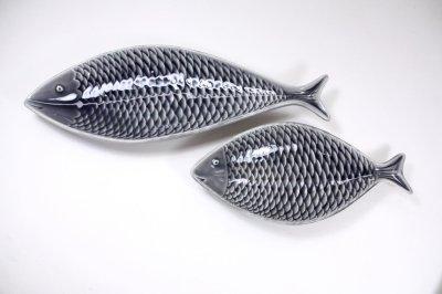 画像2: 北欧ビンテージ/Gustavsberg/グスタフスベリ/スティグ・リンドベリ/魚プレート/グレー/Lサイズ