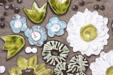 画像2: ビンテージ北欧雑貨/Jie gantofta/ジィガントフタ/オリーブグリーンチューリップ陶板の壁掛け/B品 (2)