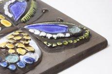 画像3: スウェーデン Jie gantofta ジィ ガントフタ 陶板の壁掛け 蝶 ブルー (3)