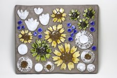 画像1: スウェーデン/Jie gantofta/ジィ ガントフタ/ホワイトフラワー陶板の壁掛け/Lサイズ (1)