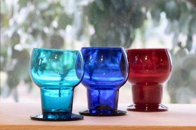 画像1: ビンテージ北欧雑貨/Kaj Franck/カイ・フランク/Wineglass 1111/Nuutajarvi/ヌータヤルヴィ/ワイングラス/ブルー