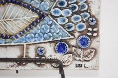 画像3: 北欧雑貨/Lisa Larson リサ・ラーソン アンティーク UNIK Fagler 小鳥陶板 ライトブルートーン (3)