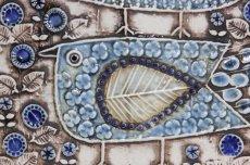 画像2: 北欧雑貨/Lisa Larson リサ・ラーソン アンティーク UNIK Fagler 小鳥陶板 ライトブルートーン (2)