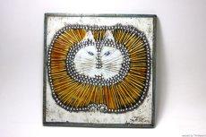 画像1: 北欧雑貨/Lisa Larson リサ・ラーソン アンティーク UNIK CAT 丸ネコ陶板  (1)