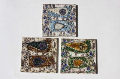 画像1: 北欧雑貨/Lisa Larson リサ・ラーソン アンティーク UNIK Fagler 小鳥陶板 グリーン&マスタード