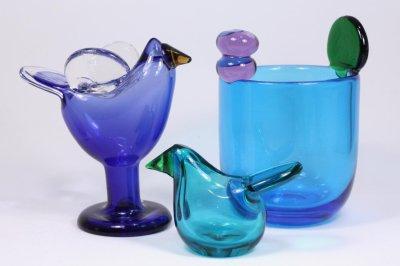 画像1: 北欧アートガラス/ビンテージガラス/Oiva Toikka/オイバ・トイッカ/Nuutajarvi/ヌータヤルヴィ/Sieppo/シエッポ/レアカラーターコイズブルー