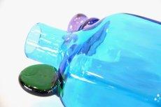 画像5: 北欧アートガラス/ビンテージガラス/Oiva Toikka/オイバ・トイッカ/Nuutajarvi/ヌータヤルヴィ/ PomPom Bottle/N526/ブルー (5)