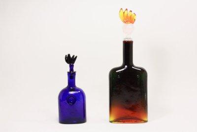 画像1: 北欧アートガラス/ビンテージガラス/Oiva Toikka/オイバ・トイッカ/Nuutajarvi/ヌータヤルヴィ/Puteli/プテリボトル/ブルー系