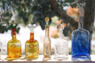 画像1: 北欧アートガラス/ビンテージガラス/Oiva Toikka/オイバ・トイッカ/Nuutajarvi/ヌータヤルヴィ/Puteli/プテリボトル/Sサイズ/オレンジ&グリーン