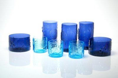 画像1: 北欧ビンテージガラス/オイバトイッカ/フローラ/ヌータヤルヴィ/グラス/ダークブルー