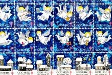 画像3: 北欧スウェーデン/ビンテージクリスマスシート切手/フレーム付き/1968年/スウェーデン/天使 (3)