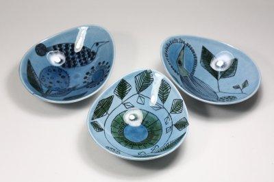 画像1: Rorstrand/ロールストランド/Sylvia Leuchovius/絵皿/ブルー小鳥/No.3