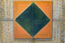 画像2: 北欧ビンテージ/北欧アート/Rut Bryk/ルート・ブリュック/陶板/アートオブジェクト/オレンジ&グリーン/No.2/委託品 (2)