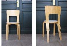 画像2: 北欧ビンテージ家具/アルヴァ・アアルト/チェア66/ナチュラル×ホワイト (2)