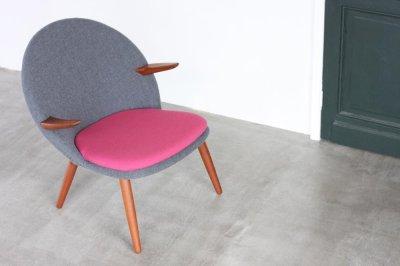 画像2: 北欧家具ヴィンテージ Glostrup Møbelfabrik イージーチェアー グレー&マゼンダピンク