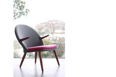 画像1: 北欧家具ヴィンテージ Glostrup Møbelfabrik イージーチェアー グレー&マゼンダピンク