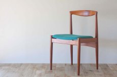 画像1: 北欧ビンテージ家具/デンマーク製/ダイニングチェア/チーク×ブルーグリーン (1)