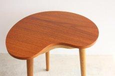 画像2: 北欧ビンテージ家具/デンマーク/チーク/サイドテーブル/ビーンズ型 (2)