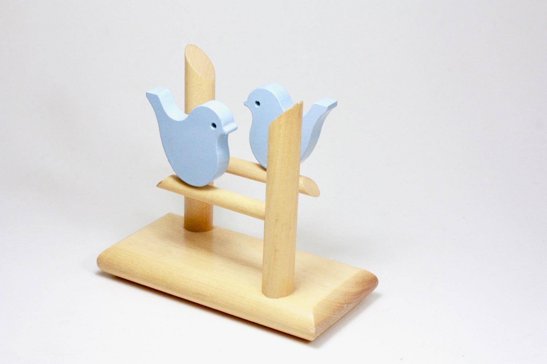 画像1: 北欧インテリアビンテージ雑貨/フィンランド製/aarikka/アーリッカ/木製ペーパーナプキンホルダー/小鳥 (1)