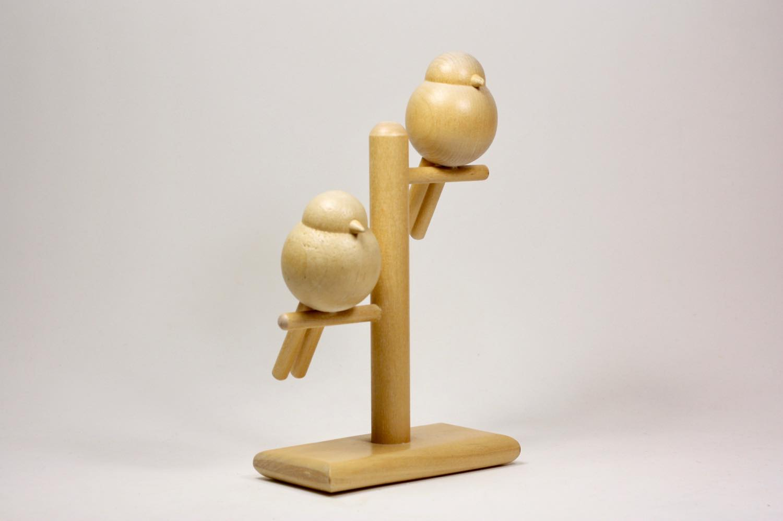 画像1: 北欧インテリアビンテージ雑貨/フィンランド製/aarikka/アーリッカ/木製オブジェ/2羽の小鳥 (1)