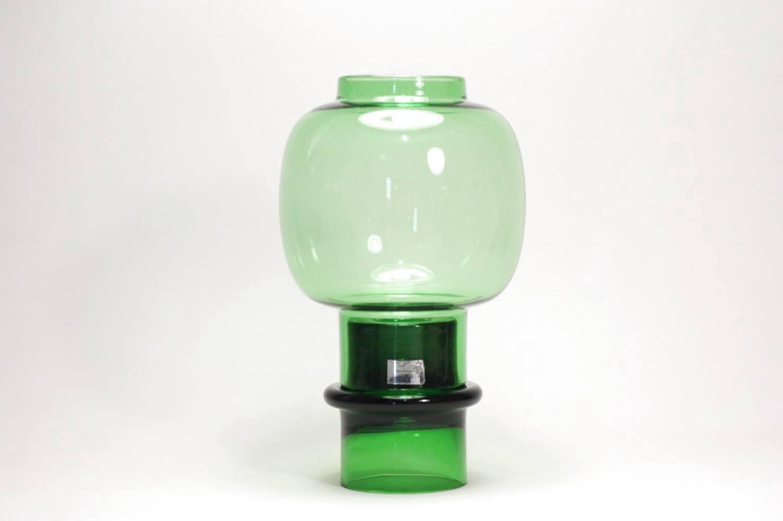 画像1: 北欧ビンテージガラス/ARABIA/キャンドルホルダー&キャンドルスタンド/グリーン (1)
