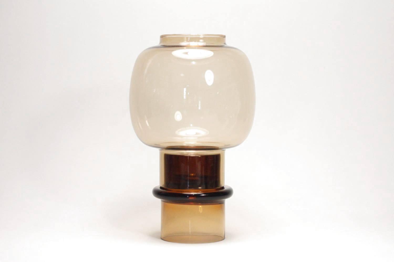 画像1: 北欧ビンテージガラス/ARABIA/キャンドルホルダー&キャンドルスタンド/ライトアンバー (1)