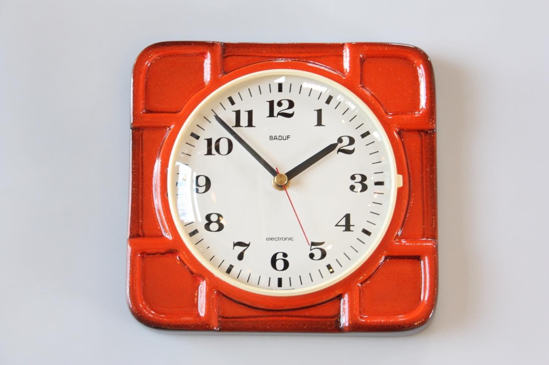 画像1: ビンテージ陶製壁掛け時計/BADUF製/ドイツ/オレンジ (1)