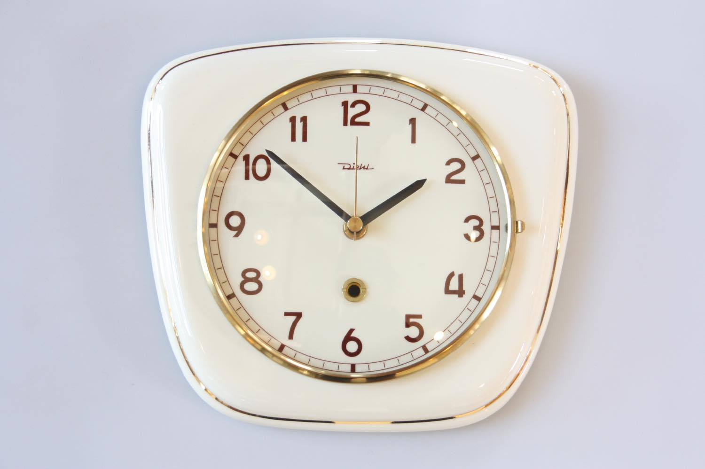 画像1: ビンテージ陶製壁掛け時計/Diehl製/ドイツ/アイボリー (1)