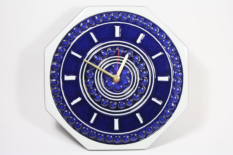 画像1: ビンテージ時計/Gustavsberg/グスタフスベリ/スタジオ制作壁掛け時計/ネイビー/新品クロックムーブメント使用  (1)
