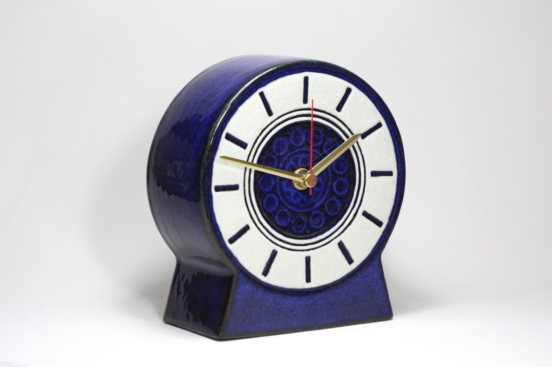 画像1: Gustavsberg/グスタフスベリ/スタジオ製/置き時計/ネイビー/新品クロックムーブメント使用/超レア  (1)