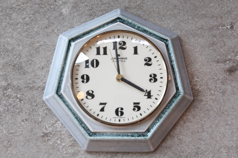 画像1: ビンテージ陶製壁掛け時計/Junghans/ドイツ/ペールグリーン (1)