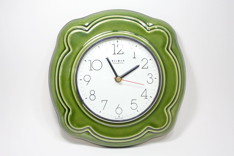 画像1: ビンテージ陶製壁掛け時計/Weimar製/ドイツ/グリーン/新しいムーブメント交換済み (1)