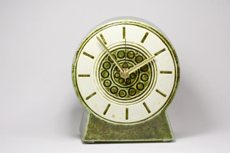 画像1: Gustavsberg/グスタフスベリ/ビンテージ時計/スタジオ製/置き時計/ペールグリーン/新品ムーブメント使用/超レア  (1)