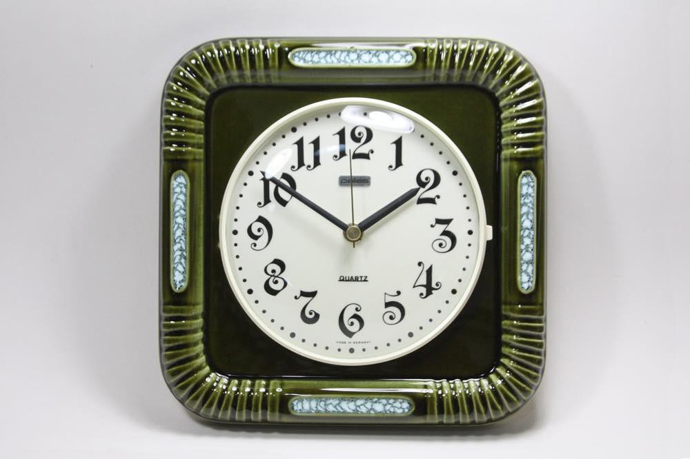 画像1: ビンテージ陶製壁掛け時計/Pallas/ドイツ/ダークグリーン (1)