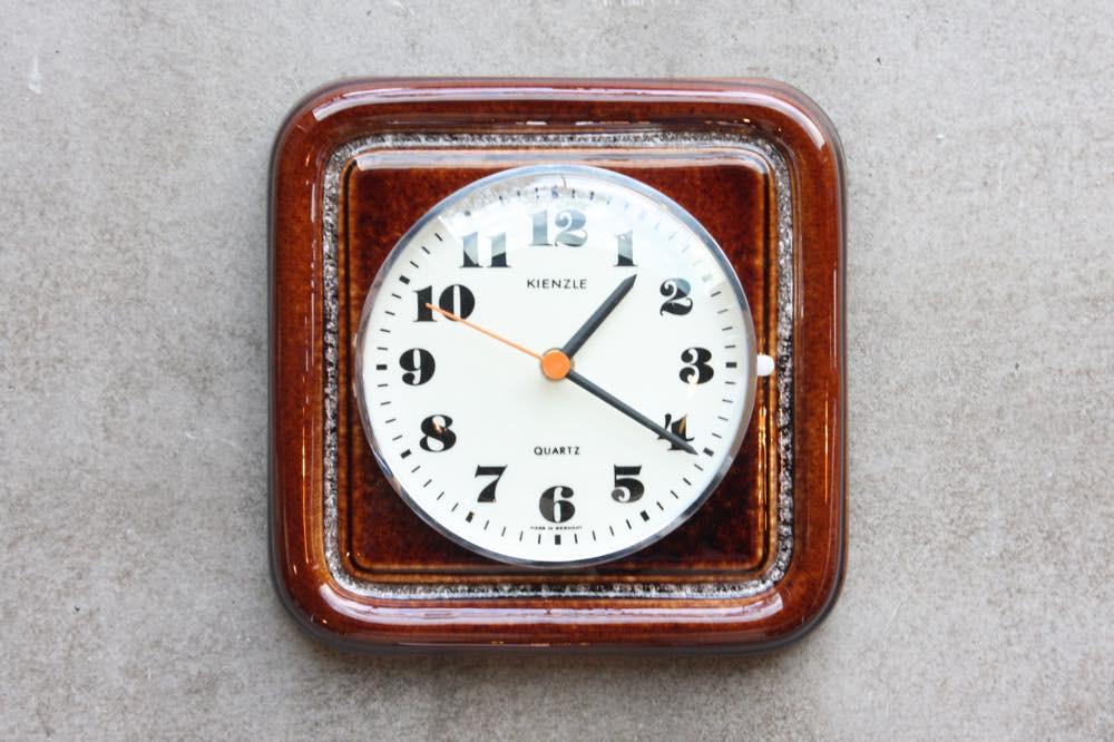 画像1: ビンテージ陶製壁掛け時計/KIENZLE製 /ドイツ/ブラウン (1)