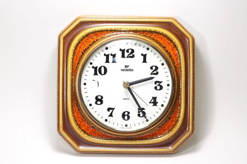 画像1: ビンテージ陶製壁掛け時計/vedette製 /フランス/キャメル✕レンガ (1)