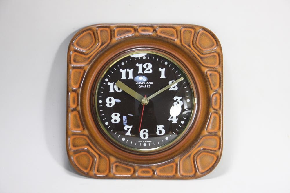 画像1: ビンテージ陶製壁掛け時計/Junghans製/ユンハンス/ドイツ/ブラウン&濃茶文字盤 (1)