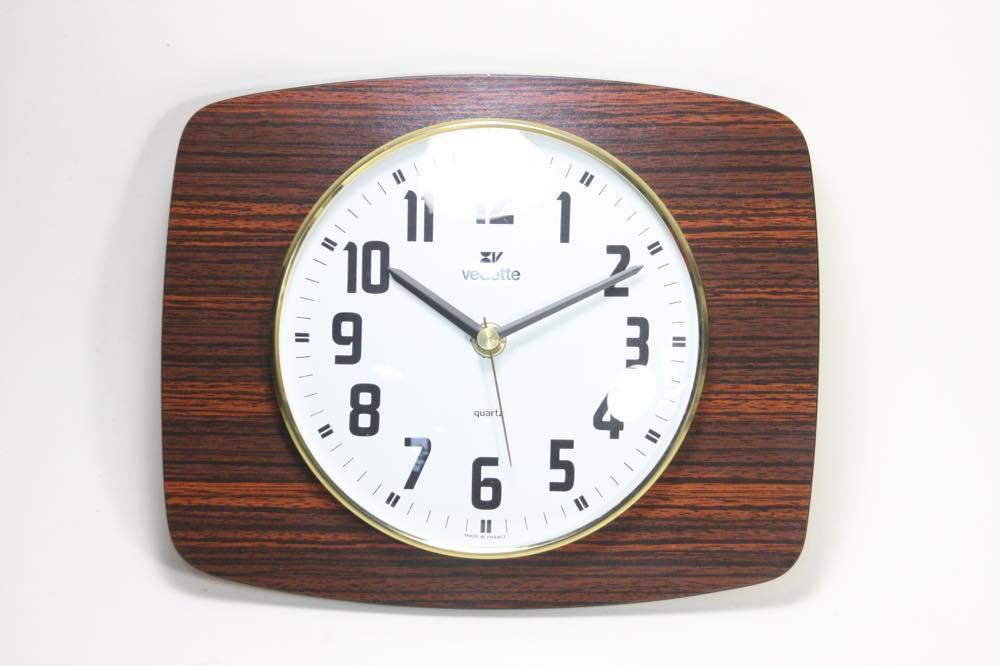 画像1: ビンテージ壁掛け時計/フランス/VEDETTE/ローズウッド調 (1)