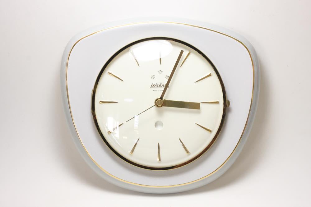 画像1: ビンテージ陶製壁掛け時計/Wehrle /ドイツ/ライトグレー (1)